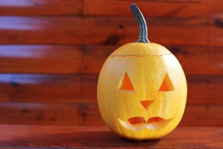 Halloween pumpkin head jack lantern with scary evil faces