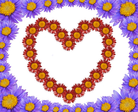 Heart and frame made of flowers - abstract