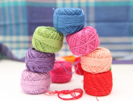 Colorful thread balls - object photography Stock Photo