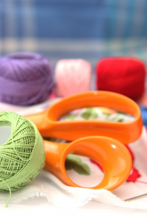 darn: Colorful thread balls - object photography Stock Photo