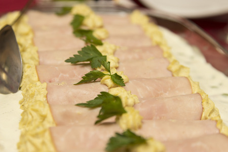 Ham rolls filed with cream - indoor photography