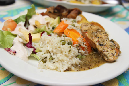 Rice, salad and chicken breast Stock Photo