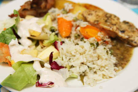 Rice, salad and chicken breast  photo