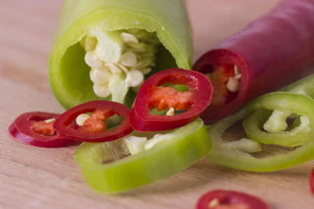 food photography: Red and green peppers - food photography Stock Photo