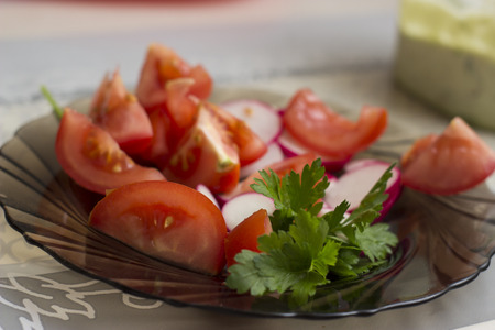 plate of food: Helthy vegetable on a plate - food photography