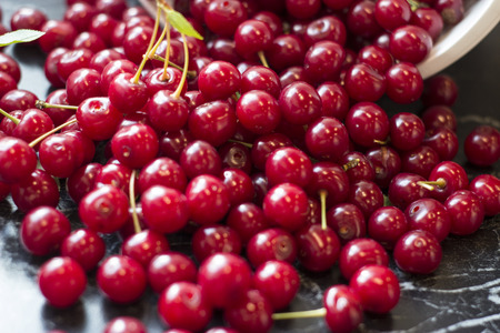 Fresh harvested sour cherry in the kitchen