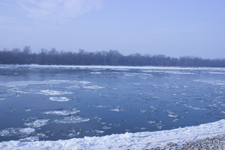 Hungarian River, Danube in the winter - swimming ice tables Stock Photo