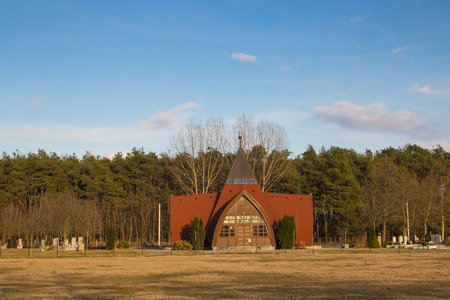 Outdoor photography - cemetary, funeral home in Hungary, Bocskaikert Stock Photo