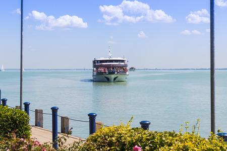 Shipping on Hungarian lake, Balaton Editorial