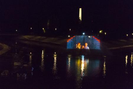 Light theater over the river - Hungary, Győr (Gyor)
