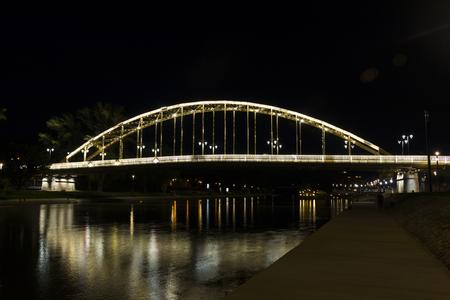 hungarian: Kossuth bridge, Hungary, Gyor - nightscape photography Stock Photo