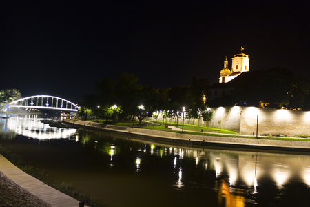 Cityscape at night, Hungary, Gy?r Stock Photo