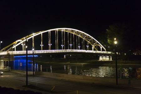 Kossuth bridge, Hungary, Gyor - nightscape photography Stock Photo