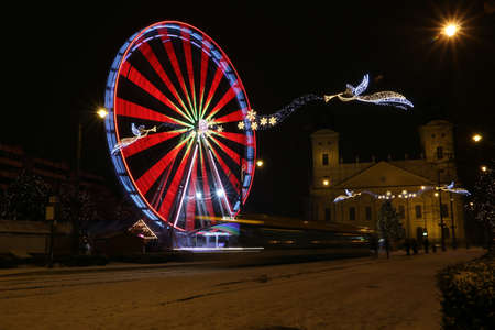 Picture in Debrecen, Hungary at nighttime in the Winter Banco de Imagens - 155235534