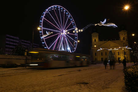 Picture in Debrecen, Hungary at nighttime in the Winter Banco de Imagens - 155236838