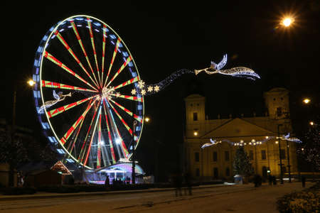 Picture in Debrecen, Hungary at nighttime in the Winter Banco de Imagens - 155235419