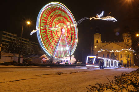 Picture in Debrecen, Hungary at nighttime in the Winter