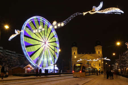 Picture in Debrecen, Hungary at nighttime in the Winter Banco de Imagens - 155236379