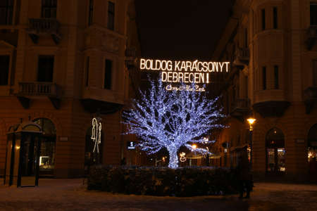 Picture in Debrecen, Hungary at nighttime in the Winter Banco de Imagens - 155236456