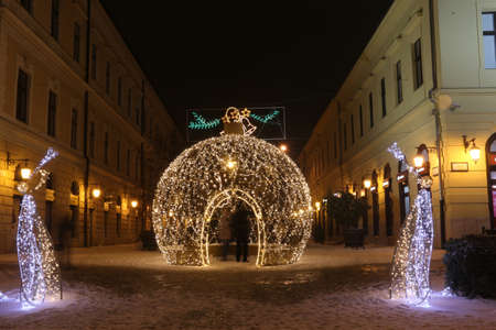 Picture in Debrecen, Hungary at nighttime in the Winter Banco de Imagens - 155236282