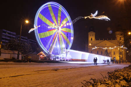 Picture in Debrecen, Hungary at nighttime in the Winter Banco de Imagens - 155236619