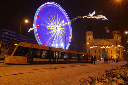 Picture in Debrecen, Hungary at nighttime in the Winter Banco de Imagens - 155236481