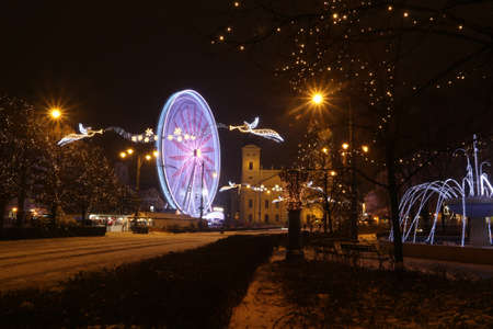 Picture in Debrecen, Hungary at nighttime in the Winter Banco de Imagens - 155236666