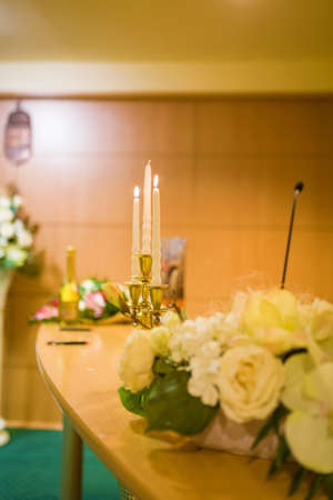 Lighting candles at wedding day - object photography Stock Photo