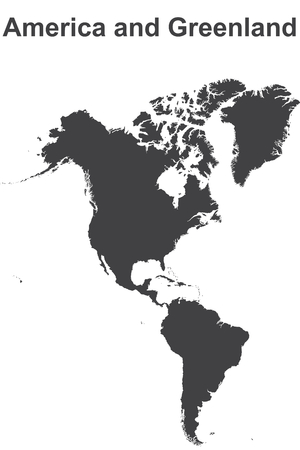 greenland: Outlined map America and greenland