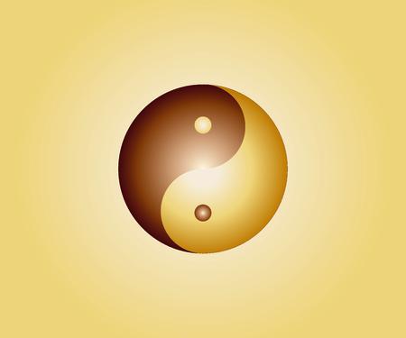 Golden yin yang symbol