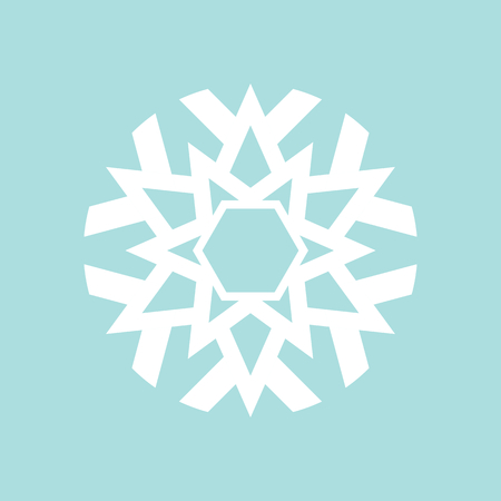 Flat snowflake icon, white on blue background Illustration