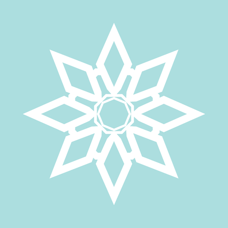 crystal button: Flat snowflake icon, white on blue background Illustration