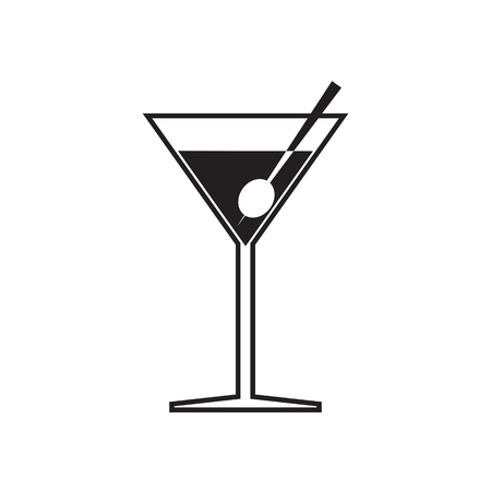 toothpick: Simple flat martini glass icon, grayscale on white background