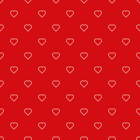Endless heart pattern, white outlined on red background