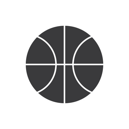 Simple flat basketball icon, grayscale on white background