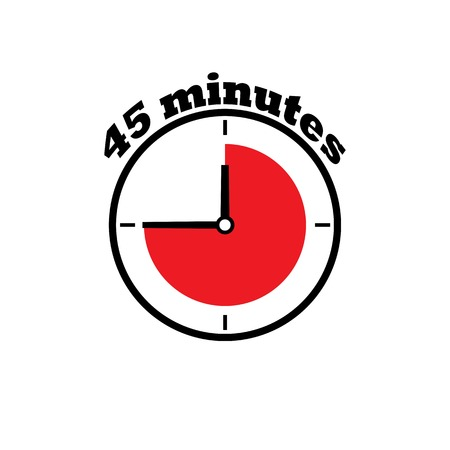 45 minutes clock dial, simple, flat with red zone Illustration