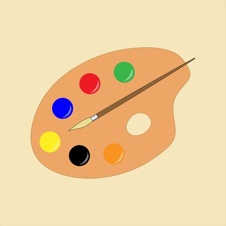 Simple flat painters pallet, colorful with paintbrush Illustration