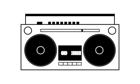 Simple boombox vector illustration, black outlined on white background Illustration