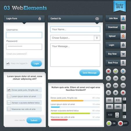 web survey: Formularios de sitios web y los botones Vectores