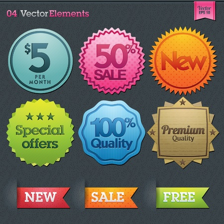 Set of vector sale labels  Stock Vector - 12492896
