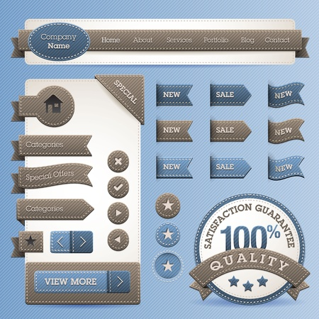 blue jeans: Web design vector elements