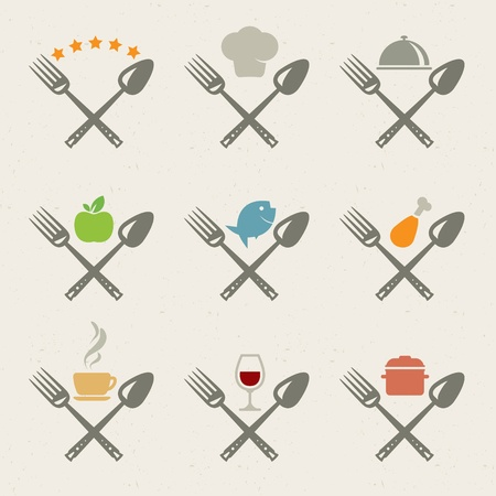 speciality: Set of restaurant icons Illustration