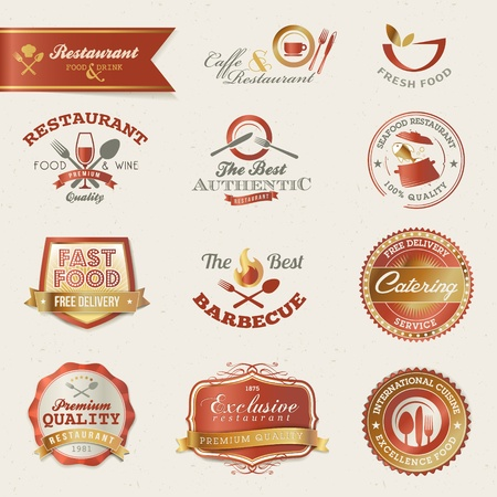 caffe: Restaurant labels and elements Illustration