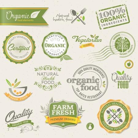Las etiquetas de los alimentos orgánicos y los elementos Ilustración de vector