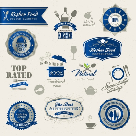 Kosher food labels and elements Stock Vector - 13073743
