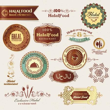 Halal food labels and elements Vector Illustration