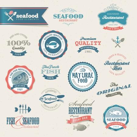 ostra: Etiquetas de mariscos y los elementos