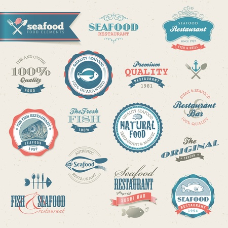 Seafood labels and elements Stock Vector - 13232717