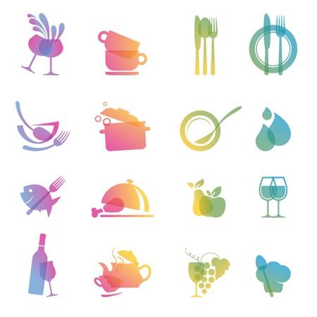 fork glasses: Set di icone di cibi e bevande per ristoranti