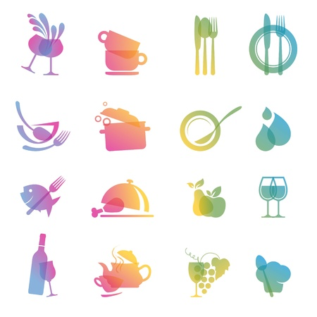 knife and fork: Set of food and drink icons for restaurants